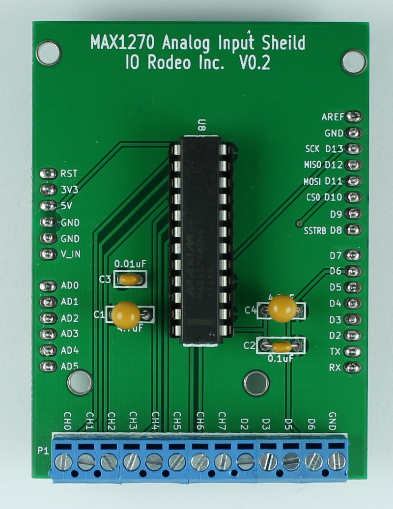 MAX1270 bipolar analog input shield for Arduino | IO Rodeo Inc